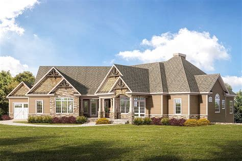 Craftsman Ranch Home Plan With 3car Garage  360008dk