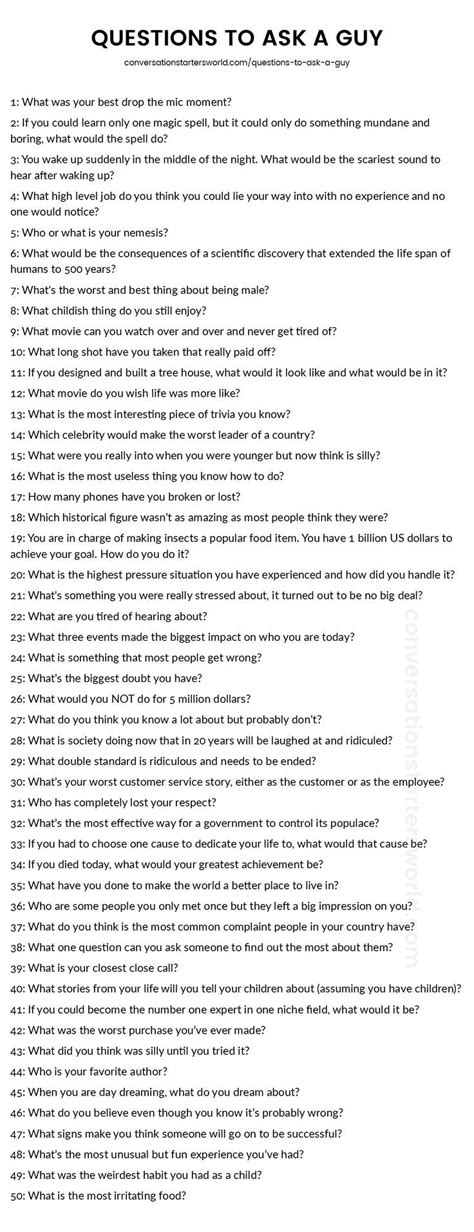 questions    guy   list youll
