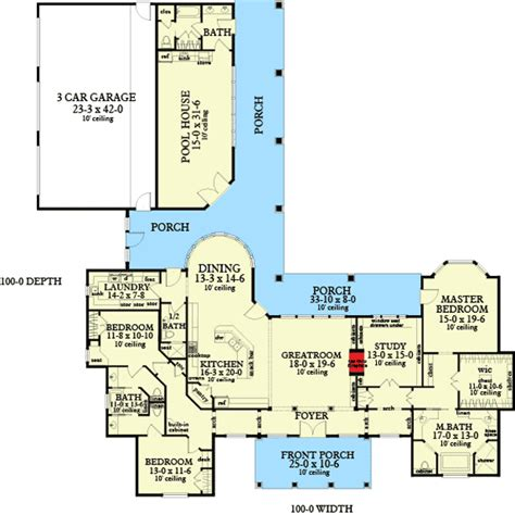 pool house floor plans ranch home with pool house 62134v 1st floor master