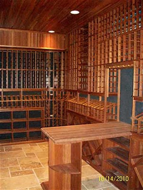 Prime Mahogany Custom Wine Cellar with Light Wood Stain