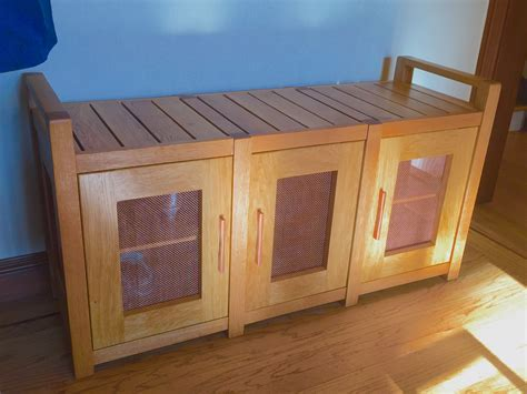 hand crafted shoe storage bench    nature