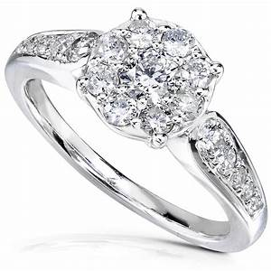 Diamond me cluster halo diamond engagement ring 3 4 carat for Cluster wedding rings