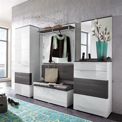 Garderobenset Reno Garderobe Schrank Bank Spiegel In Weiß