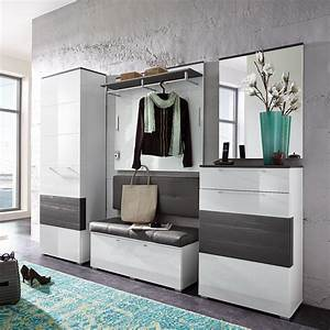 Moderne Garderobe Mit Bank : garderobenset reno garderobe schrank bank spiegel in wei hochglanz und grau ebay ~ Bigdaddyawards.com Haus und Dekorationen