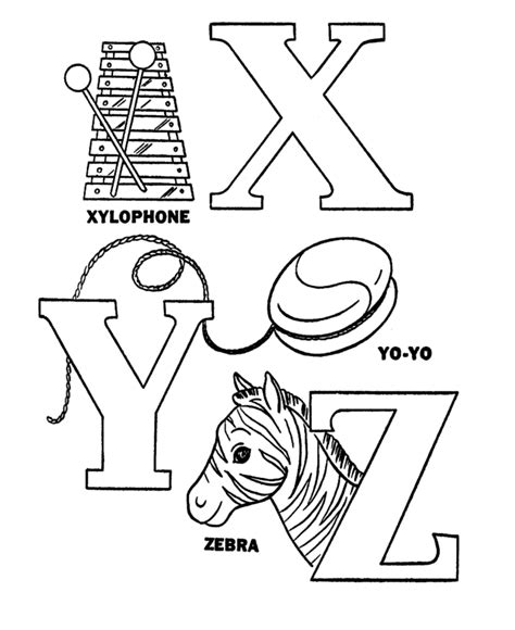 colors that start with x letter x coloring pages