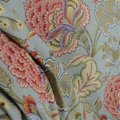 Jacobean Floral Curtain Fabric by Meadowlark Surf Blue Green Rust Jacobean Floral Drapery