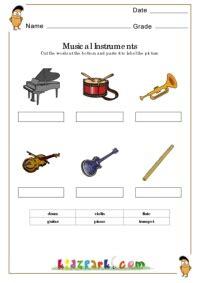 musical instrument worksheetsmatching worksheets