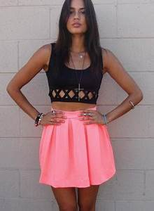 Bright Coral High Waisted Skirt with Back Zipper Closure