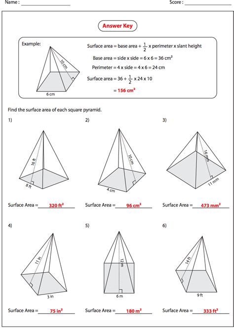 Surface Area Worksheets With Answer Key  Worksheet Example