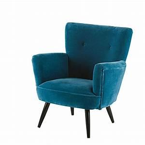 Fauteuil Velours Bleu : fauteuil en velours bleu et manguier sao paulo maisons du monde ~ Teatrodelosmanantiales.com Idées de Décoration