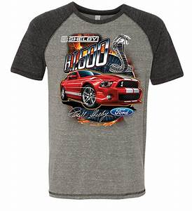 Ford Mustang Mens Shirt Red Shelby GT 500 Tri Blend Tee T-Shirt - Ford Mustang Shirt Red Shelby ...