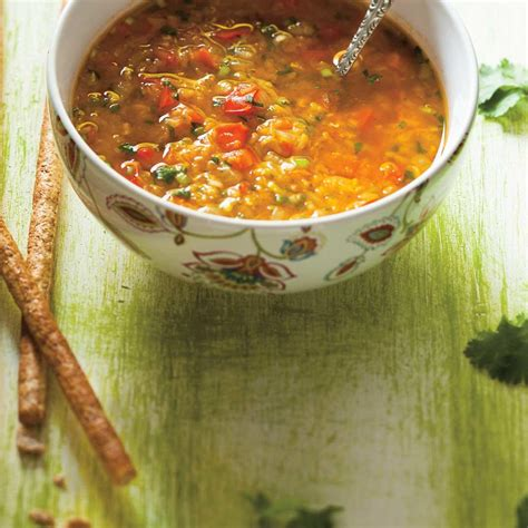 soupe aux lentilles  aux poivrons rouges ricardo