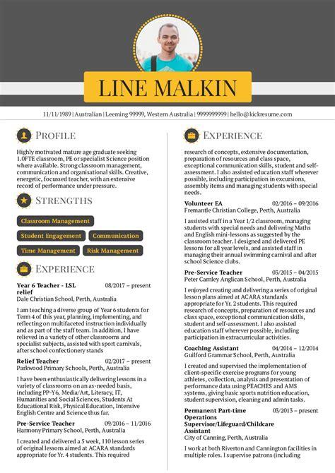 resume examples  real people primary teacher resume sample kickresume