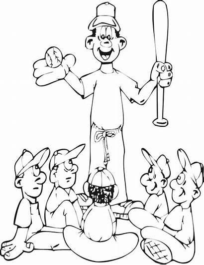 Baseball Coloring Pages Team Coaching Coach Coaches