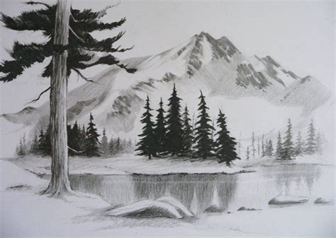 easy pencil drawings  landscapes google search