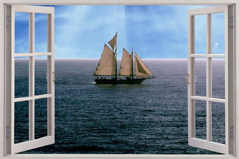 3d Window Ocean View Blue Sea Home Decor Wall Sticker: Huge 3D Window View Sailing Boat Ship Schooner At Sea Wall