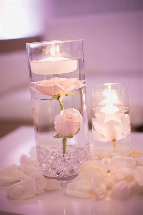 submerged flower centerpiece blush and ivory wedding