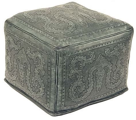 tooled turquoise leather ottoman western ottomans free