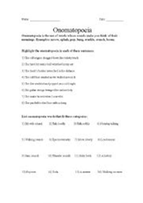 Onomatopoeia Worksheets