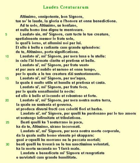 cantico delle creature testo italiano per bambini cantico delle creature san francisco de asis st