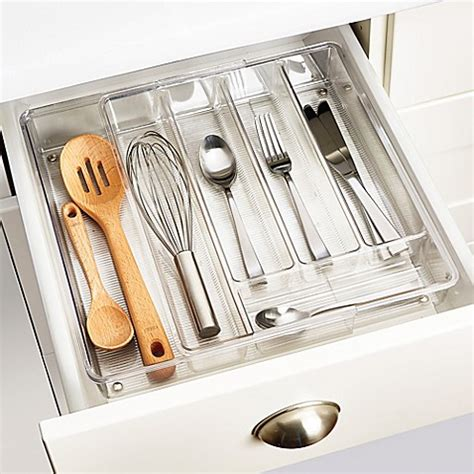 kitchen utensil organization interdesign 174 linus acrylic expandable cutlery tray bed 3421