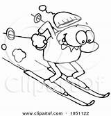 Outline Coloring Skiing Clipart Skier Guy Toon Royalty Vector Clip Ski Gnurf Illustration Tube Cartoon Dirty Template Lodge Clipground Illustrations sketch template