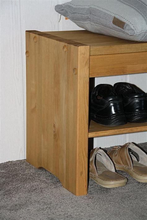 Sitzbank Kiefer Gelaugt Geölt by Sitzbank 140x48x40cm 1 Ablageboden Kiefer Massiv Gelaugt