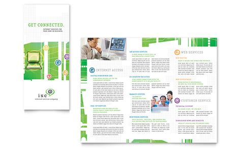 isp internet service tri fold brochure template word