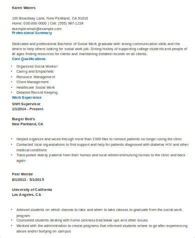 Entry Level Social Work Resume by Sle Social Worker Resume 10 Exles In Word Pdf