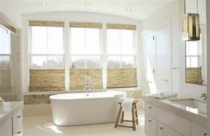 Use bamboo blinds in the bathroom to create a spa like for Bamboo in the bathroom