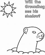 Groundhog Coloring Shadow Printable Pages Sheet Story Again Think sketch template