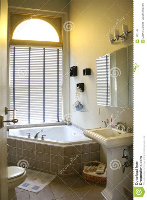 upscale bathroom with corner tub stock image image of