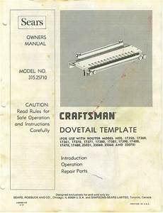 Craftsman Router Dovetail Template   315 25710 Manual In Pdf Format