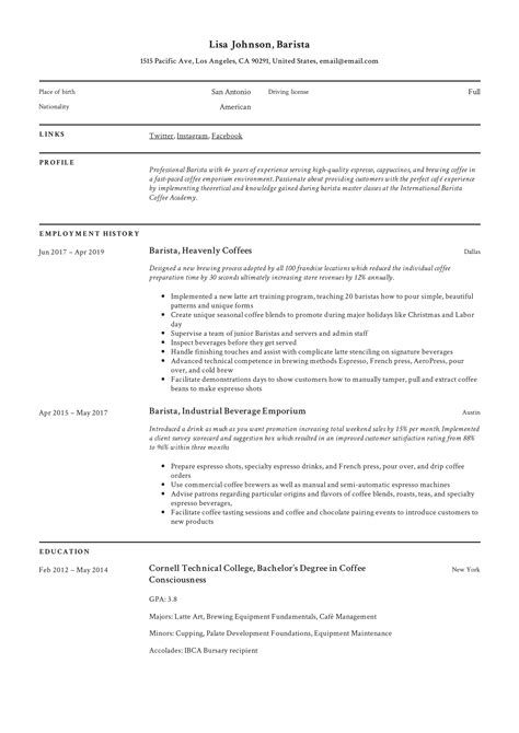 A Resume For A by Barista Resume Writing Guide 12 Resume Templates Pdf