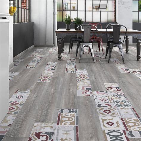 peinture pour stratifié cuisine sol stratifié créativ 39 composition mix bois carreaux de ciment décor bellante leroy merlin