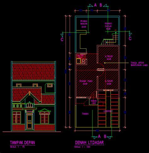 kotakcad desain rumah tinggal sederhana  lantai