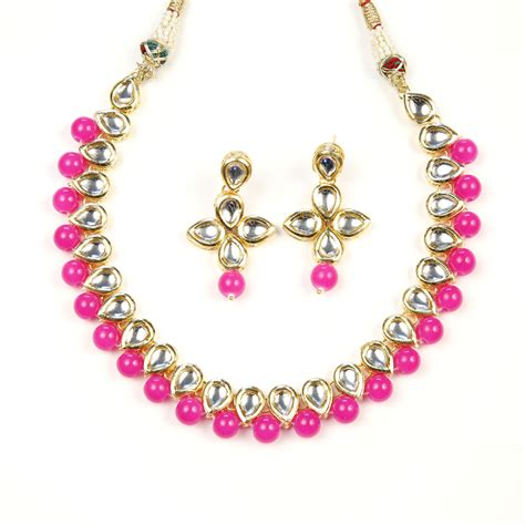 Gamis Set Pink kundan choker set pink sahiba accessories