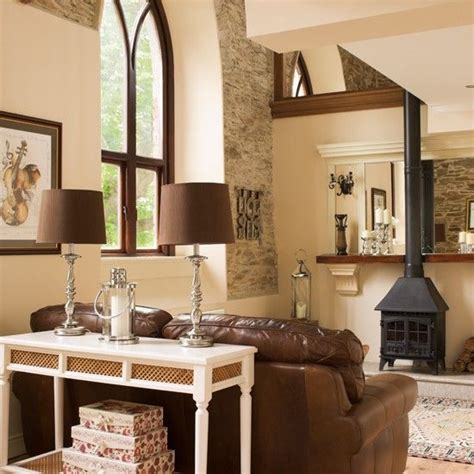 Brown Living Room Ideas Uk by Country Living Room With Stove Living Room Ideas
