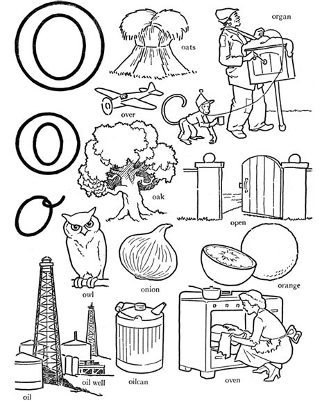 words that start with letter o get coloring pages 756 | 5isero8