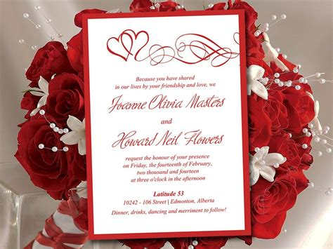 heart wedding invitation template red wedding invitation