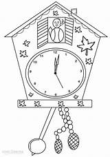 Clock Coloring Pages Clocks Printable Colouring Cuckoo Cool2bkids Grandfather sketch template