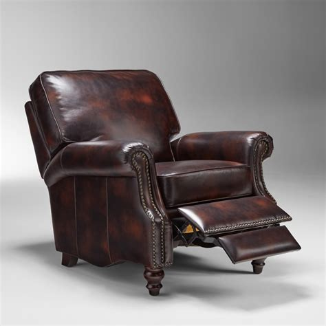 distressed leather reclining sofa distressed leather recliner cindy crawford home auburn
