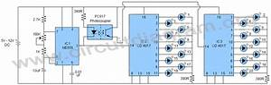 20 Led Sequencer    Chaser Using 555  U0026 4017 Ics