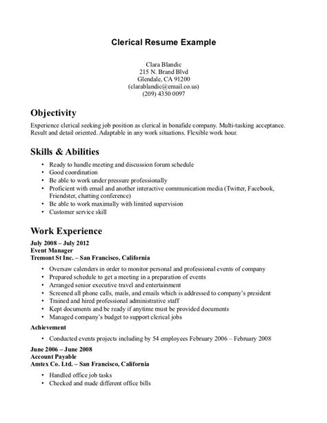 Clerical Position Resume objective on resume for clerical position resume