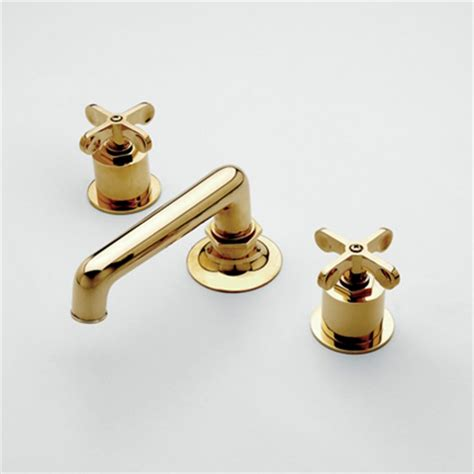 Unlacquered Brass Bath Fixtures by Waterworks Henry Low Profile Three Deck Mounted