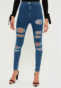 Blue Vice High Waisted Ripped Jeans | Missguided