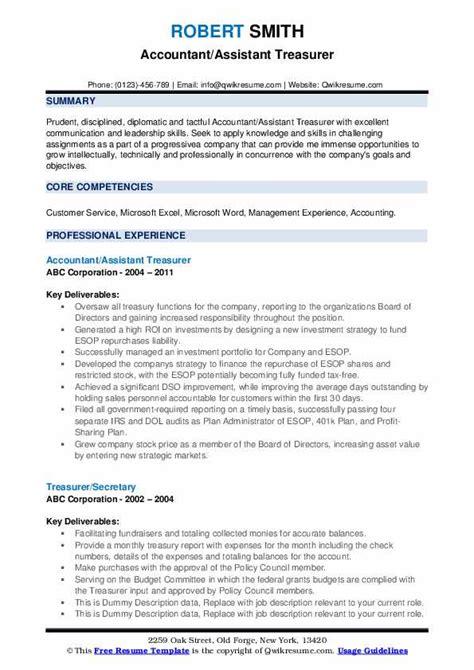 treasurer resume samples qwikresume