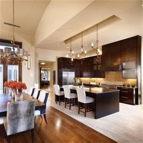 kitchen dining area open floorplan tile floor transition