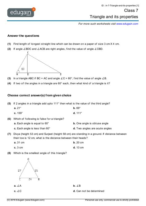 class 7 math worksheets and problems triangle and its