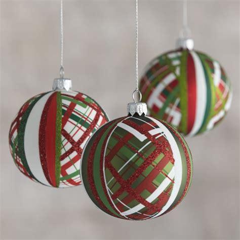 tartan glitter ball ornaments crate  barrel